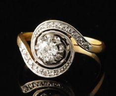 """Bagues anciennes / Art nouveau / Bague ancienne """"tourbillon"""", or, platine et diamants."""