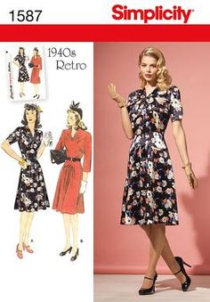 Oh, I am a sucker for '40s era styling.  Simplicity Creative Group - Misses' & Miss Petite 1940's Vintage Dress