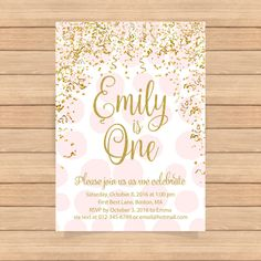 Birthday invitation White and Gold 1st Birthday by CoolStudio