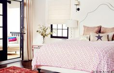 Beautiful big feminine bedroom.