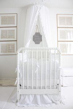 Pretty little nursery! Love the lullaby sheet music in frames!