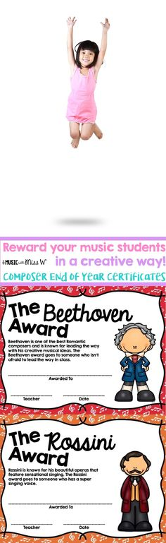 I love these certificates because I can relate them to composers we have studied. I am giving these out at the end of the year this year but I might end up including them monthly in my composer unit. Such an awesome way to reward students. Piano Teaching, Teaching Kids, Teaching Tools, Piano Lessons, Music Lessons, Dream Music, Learning Techniques, Music Classroom, Classroom Ideas