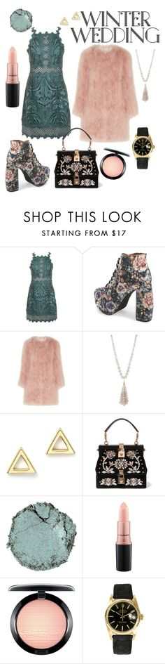 """""""Winter Wonderland Wedding"""" by lexirae426 on Polyvore featuring Topshop, Jeffrey Campbell, Topshop Unique, Lydell NYC, Mateo, Dolce&Gabbana, Chantecaille, MAC Cosmetics and Rolex"""