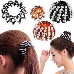 f36a31f52 Girls 9 Colors Nest Bun Maker Hair Clips High Quality Bud head Bezel Plate  Hair Accessories