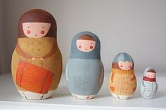 beautifully painted matryoshka dolls...