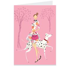Emma Block Girl & Dalmation walking in the park Illustrated Greeting Card