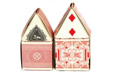 House shaped Paper Craft - folded decorative playing card house - full instructions