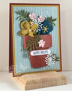 Botanical Gardens Designer Paper and the new Botanical Builder Framelits Dies Flower Cards, Paper Flowers, Flowers Vase, Housewarming Card, Diy And Crafts, Paper Crafts, Simple Birthday Cards, Scrapbooking, Stamping Up Cards