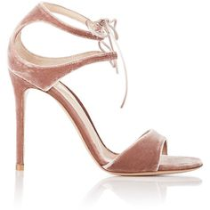 Gianvito Rossi Women's Velvet Darcy Double-Strap Sandals Siz ($990) ❤ liked on Polyvore featuring shoes, sandals, heels, chaussures, gianvito rossi, colorless, ankle wrap sandals, lace-up sandals, lace up high heel sandals and clear heel sandals