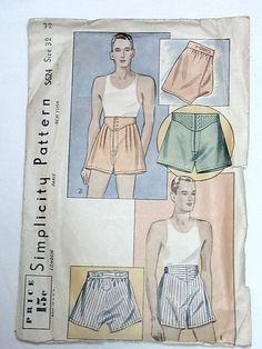 Simplicity S624 Men's Underwear Shorts 1930/1940 Sz32 late30s-early40s.Fair-Good cut,env tears used c/c 10+fr 1bd 8/7/14