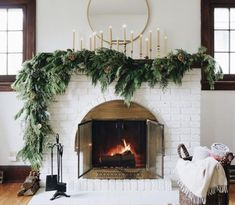 Modern Christmas Decor, Farmhouse Christmas Decor, Christmas Mantels, Rustic Christmas, Christmas Home, Holiday Decor, White Christmas, Christmas Stockings, Decorating Mantle For Christmas