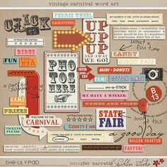 Browse and get word art digital scrapbooking elements. The Lilypad offers beautiful word art scrapbook elements from best designers. Vintage Carnival, Vintage Circus, Carnival Ideas, Carnival Decorations, Circus Party, Scrapbook Designs, List, So Little Time, Word Art