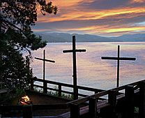 This is a picture of the camp fire ring at Lutherhaven in Coeur D'Alene, Idaho.  We went to their family camp with my husband's cousins.  We had such a wonderful time!  The scenery is breath taking and the camp staff is wonderful!  Our kids are begging to go back!