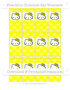 Free Yellow Heart Pattern Hello Kitty Mini Chocolate Bar Wrappers