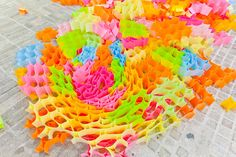 Sticky note structures. Yo Shimada of Tato Architects has created this colourful homage to the Post-It Note by stringing some 30,000 of them together in collaboration with students from the Kyoto University of Art and Design.