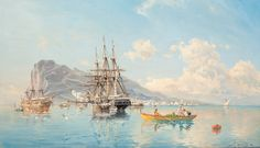 Herman af Sillén - Swedish Frigate at Anchor in the Roadstead Off Gibraltar (1895)