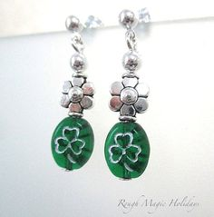 Green Earrings Saint Patricks Day Jewelry by RoughMagicHolidays