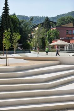 Velenje City Center Pedestrian Zone Promenada by Enota « Landscape Architecture Works Landscape Architecture Degree, Landscape Stairs, Architecture Diagrams, Architecture Portfolio, Landscape Architects, Landscape Lighting, Contemporary Landscape, Urban Landscape, Landscape Design