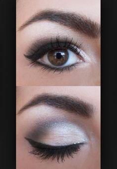 Makeup for brown eyes. Silver & dark gray. love this eyeshadow