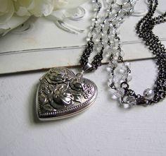 Silver Locket Silver Repousse Heart Locket Photo Locket Picture Locket Gemstone Locket Rose Locket Silver Vintage Locket Romantic Gift