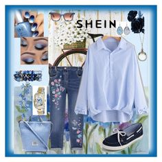 """""""Shein Bow Cuff Blouse Contest"""" by aurorasblueheaven ❤ liked on Polyvore featuring Artissimo, George, Thierry Lasry, Lydell NYC, 1928, Eastland and Invicta"""