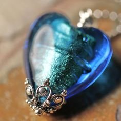 South Paw Studios Handcrafted Designer Jewelry - Electric Blue Venetian Glass Heart Necklace on sterling silver chain
