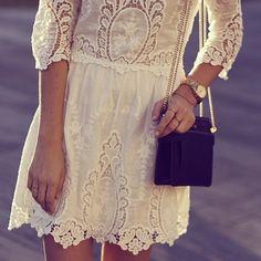 Vintage white lace.
