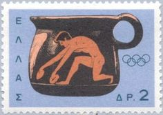 Jumper, Olympic Games, Tokyo, 1964 - Athlete on vase Postage Stamp Art, Tokyo Olympics, Stamp Collecting, Olympic Games, Jumper, My Favorite Things, Andorra, Posters, Postage Stamps