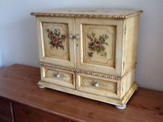 FRENCH TABLE TOP HAND PAINTED CABINET