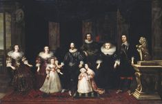 """""""The Family of the Duke of Buckingham"""" George Villiers by an unknown English artist in the Royal Collection, UK Family Illustration, Illustration Art, Charles Ii Of England, British Schools, The Royal Collection, 17th Century Art, Lady Mary, English Artists, Big Family"""