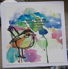 Fasters korthus: Watercolour and stamping Wakley Bird 2