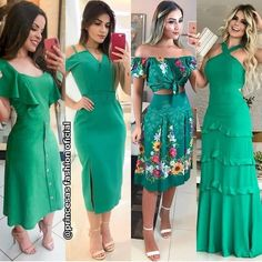 Qual você prefere?  by:@princesasfashionoficial . Frocks, Strapless Dress, Green Outfits, Sewing, Womens Fashion, Instagram, Dresses, Style, Ruffled Dresses