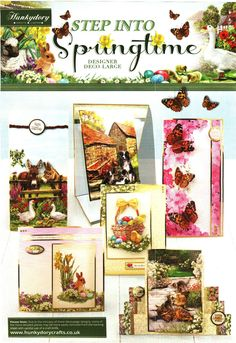 Hunkydory Step into Springtime collection - die cut decolarge decoupage, toppers, co-ordinating card & papers