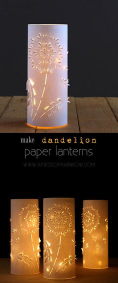 Make these stunning Dandelion paper lanterns with up-cycled plastic bottles and paper! Free printable download in this easy and fun paper craft tutorial! A Piece of Rainbow