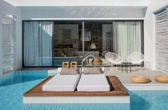 The rooms and suites at Casa Cook in Rhodes Greece offer a stylish and modern feel, great amenities and direct pool access Design Hotel, Patio Interior, Interior Design, Casa Cook Hotel, Rhodes Hotel, Mykonos Hotels, Mediterranean Design, Outdoor Furniture Sets, Outdoor Decor