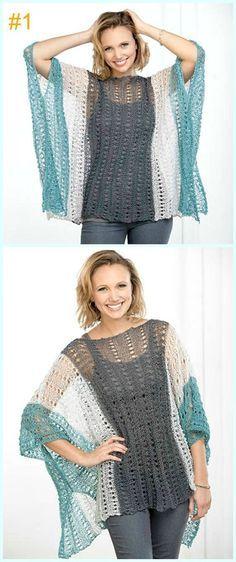 Crochet Eyelet Summer Poncho Free Pattern-Light Weight Spring Summer #Poncho; Free #Crochet; Patterns