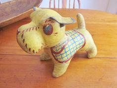 Vintage 1930's Oilcloth Stuffed Dog