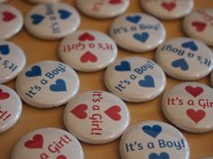 16 Gender Reveal Party Favors It's a Boy and It's a Girl with hearts Baby Shower Pinback Buttons