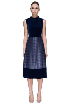 Velour Adventure, Multi-textured, Stand Up Collar, Sleeveless Midi Dress