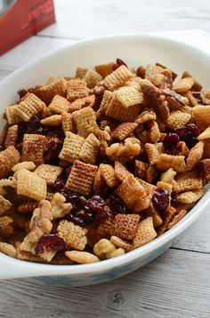 Cranberry Nut Chex Mix - a holiday twist on the classic! This easy recipe is made in the microwave and you won't believe how delicious it is! #ChexMagic #ad