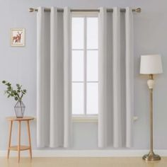 Deconovo Curtains Thermal Insulated Blackout Curtains for Bedroom Sets of 2 Grommet Top Curtains Greyish White Inch Curtains Living Room, Drapes Curtains, Outdoor Curtains, Curtains, Living Room Bedroom, Home Curtains, White Curtains, White Blackout Curtains, Insulated Blackout Curtains