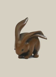 Wood Netsuke of a hare. Artist Ranko, 19th century, Japan