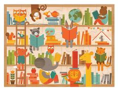 wild reading floor puzzle from Pink Olive - $24.00