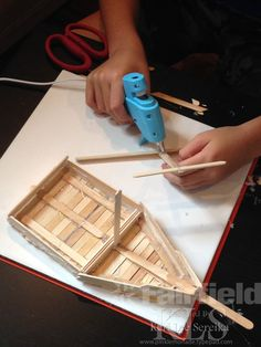 03 Assemble a Mast - Keri Lee Sereika popsicle stick crafts.  AdTech Low Temp Glue Gun and Glue Sticks.