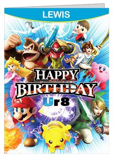 Super Smash Bros Personalised Birthday Card A5 by CardsByCraftyCat