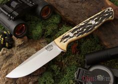 Bark River Knives: Gunny Hunter Elmax - Antique Stag Bone - Red Liner $261.77