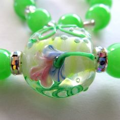 Gift for Mom or Grandma Magnetic Clasp Necklace Lampwork Beads Spring Green Matching Earrings & Stretch Bracelet Available