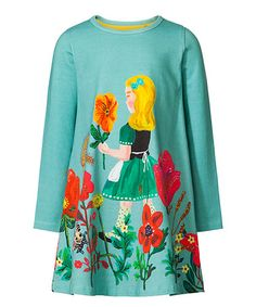 Love this Turquoise Floral Girl Shift Dress - Toddler & Girls on #zulily! #zulilyfinds