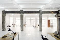 """lycs architecture office . """"to create the juxtaposition of this abandoned storage space and the new office, through the material homogeneity to heterogeneity and temporal attenuation of space"""" ."""