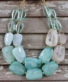Giddy Up Glamour  Two Strands of Mint Bead Necklace  $16.95